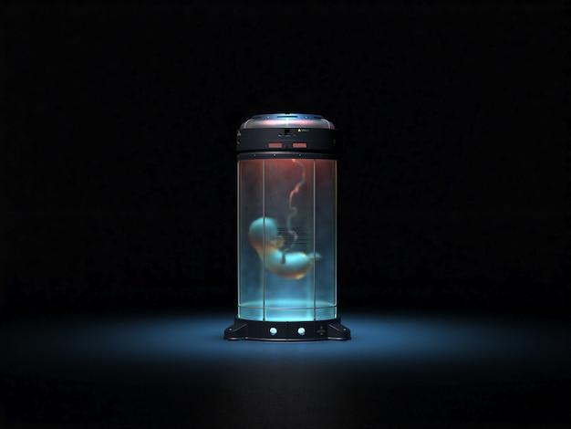 Baby in provetta. astrazione sul tema della fecondazione in vitro. esercito di cloni 3d rendering