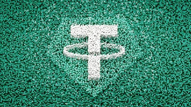 Tether logo sul cubo pixel abtract concetto di sfondo critovaluta 3d illustration