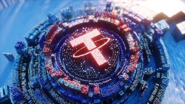 Tether logo arte digitale. illustrazione futuristica 3d di simbolo di criptovaluta. sfondo crittografico.