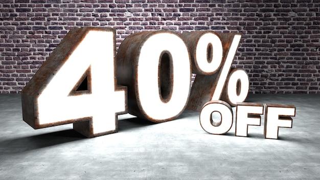Testo con il 40% di sconto tridimensionale simile alla lamiera arrugginita e illuminata