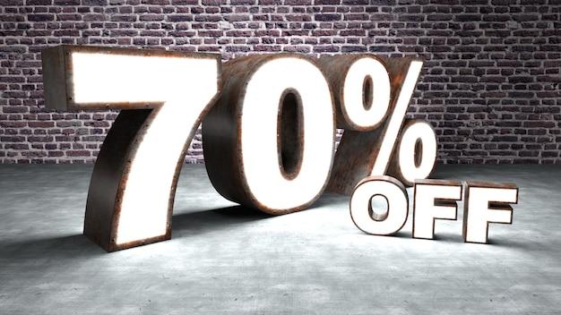 Testo con il 70% di sconto tridimensionale simile alla lamiera arrugginita e illuminata.