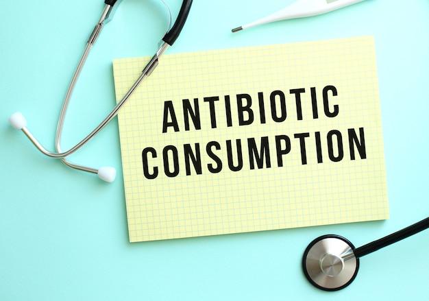 Il testo consumo di antibiotici è scritto in un blocco giallo che si trova accanto allo stetoscopio su uno sfondo blu.