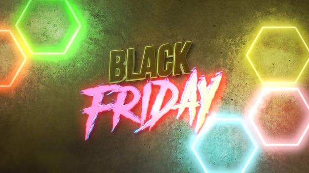 Testo black friday e movimento luci al neon colorate sulla parete, sfondo astratto. illustrazione 3d in stile club dinamico elegante e di lusso