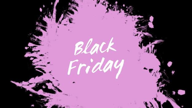 Testo black friday su moda rosa e sfondo pennello. stile di illustrazione 3d elegante e di lusso per modello aziendale e aziendale