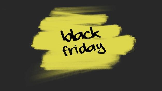 Testo black friday su giallo moda e sfondo pennello. stile di illustrazione 3d elegante e di lusso per modello aziendale e aziendale