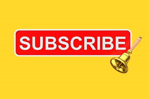 Pulsante iscriviti casella di testo con campana di notifica dorata su sfondo giallo. rendering 3d