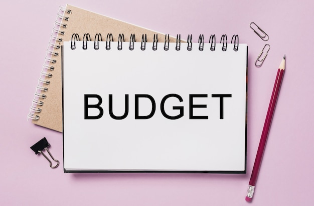 Budget di testo su un blocco note bianco con cancelleria per ufficio