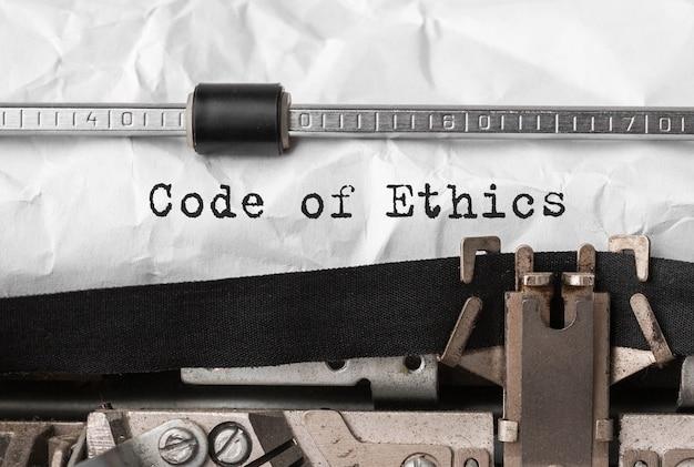 Codice etico del testo digitato sulla macchina da scrivere retrò
