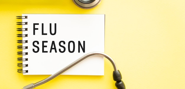 Testo flu season sul taccuino con lo stetoscopio