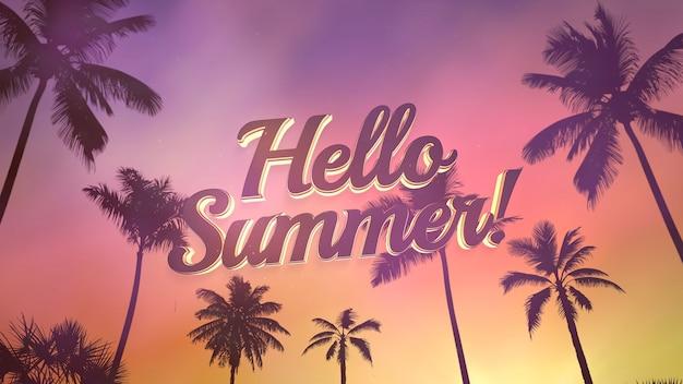 Testo hello summer e vista panoramica del paesaggio tropicale con palme e tramonto, sfondo estivo. elegante e lussuosa illustrazione 3d in stile retrò anni '80 per pubblicità e temi promozionali