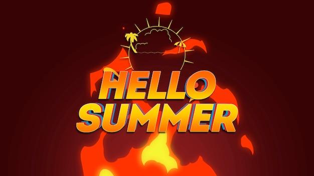 Testo hello summer con raggi di sole, palme e fuoco caldo, sfondo estivo. illustrazione 3d in stile retrò dinamico elegante e lussuoso per temi pubblicitari e promozionali