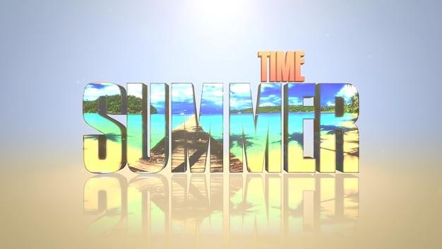 Testo summer time con effetto specchio, sfondo mare estivo. stile di illustrazione 3d elegante e di lusso per temi pubblicitari e promozionali
