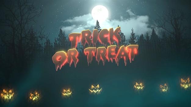 Testo dolcetto o scherzetto sull'animazione di halloween con la foresta e le zucche, sfondo astratto. illustrazione 3d di lusso ed elegante del tema horror