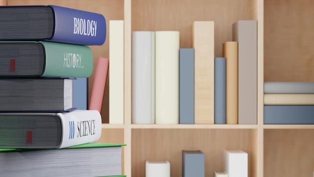 Libri di testo sulla tavola in libraly, di nuovo alla rappresentazione di concetto 3d della scuola