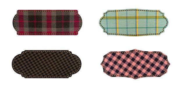 Etichette tessili. etichette di trama del tessuto isolate su bianco