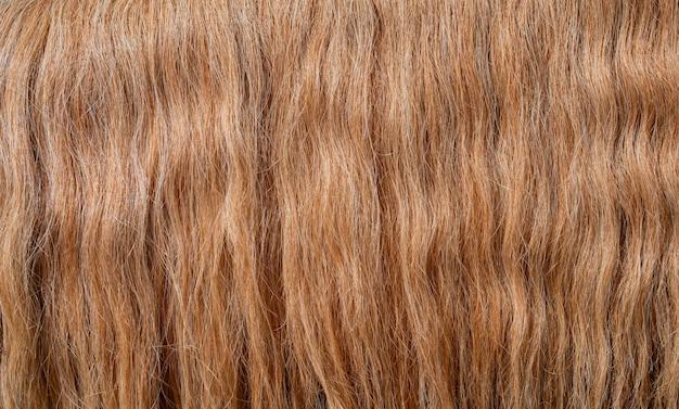 La trama di bei capelli rossi spessi. bellissimi capelli mossi.