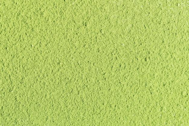 La consistenza della polvere di tè verde matcha. vista dall'alto.