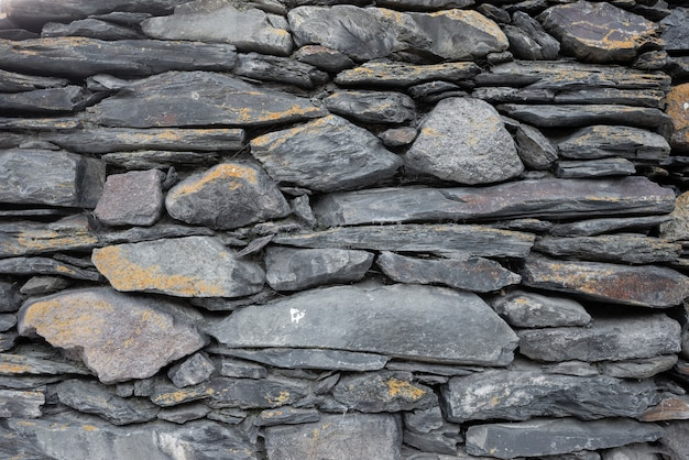 Trama di vecchie pietre di diverse dimensioni e forme che giacciono una sopra l'altra .. vecchio muro