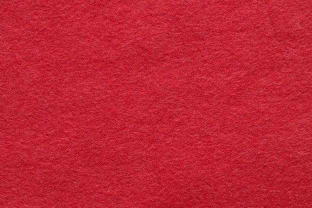 Texture di feltro rosso closeup, primo piano. vista dall'alto, piatto