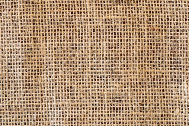 Trama di tessuto di iuta rustico. vista dall'alto