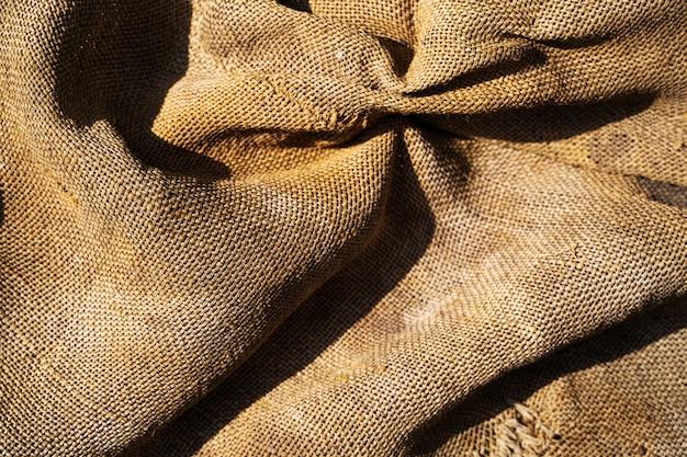 Consistenza del sacco. sfondo di tela sporca