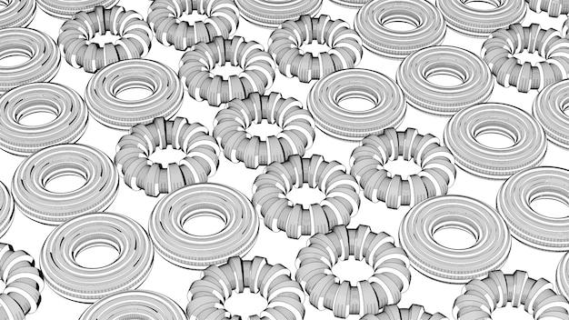 Forme circolari strutturate, effetto schizzo. illustrazione astratta, rendering 3d.