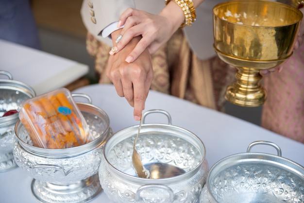 Cultura tradizionale tailandese di cerimonia di nozze