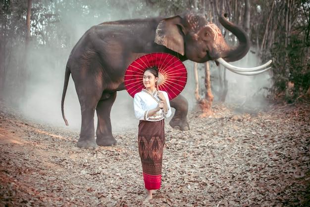 Donne tailandesi in costumi nazionali in piedi, in possesso di un ombrello rosso e in posa con un elefante tailandese in surin, thailandia