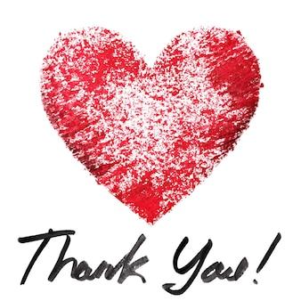 Grazie. cuore rosso con stencil e scritte su sfondo bianco