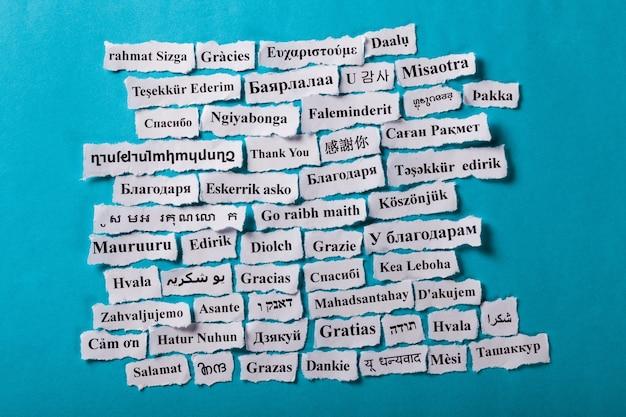Grazie parole in diverse lingue, sfondo del concetto