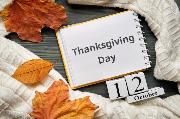 Giorno del ringraziamento dell'autunno mese calendario ottobre