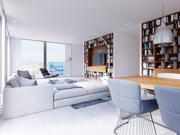 Ci sono divani e poltrone nel soggiorno moderno, compreso un tavolo in legno con un tappeto creativo con sopra oggetti ornamentali. librerie lunghe e porta tv e libreria parete bianca. rendering 3d