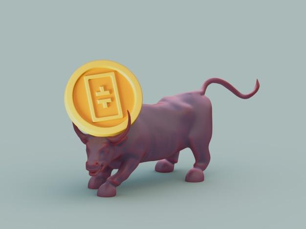 Theta bull acquista la crescita degli investimenti sul mercato crypto currrency 3d illustration render