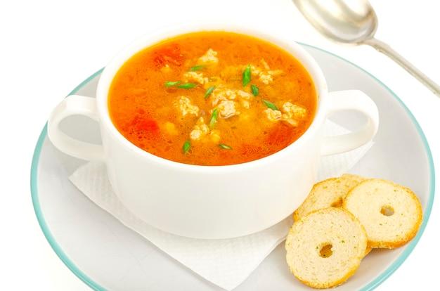 Zuppa di verdure densa fatta in casa con riso, zucca e pomodori. foto in studio
