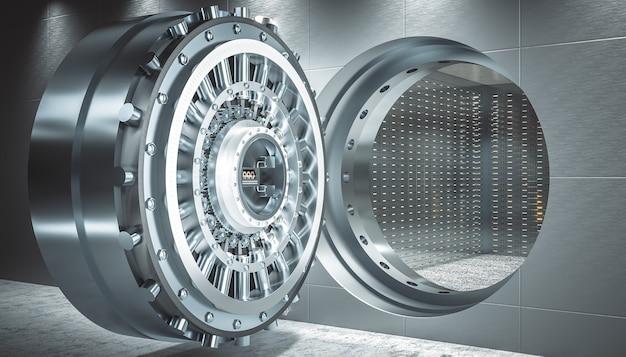 Spessa porta di sicurezza del caveau di una banca, cassette di sicurezza all'interno. rendering 3d.