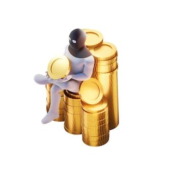 Ladro 3d rendering con monete d'oro.