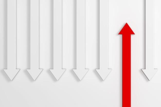 Pensa in modo diverso il concetto di business. freccia rossa in piedi fuori dalla folla freccia bianca su sfondo bianco. rendering 3d