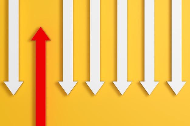 Pensa in modo diverso il concetto di business. freccia rossa in piedi fuori dalla folla freccia bianca su sfondo giallo. rendering 3d
