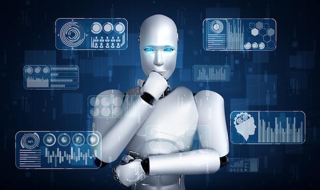 Robot umanoide di pensiero ai che analizza lo schermo dell'ologramma che mostra i big data del concetto