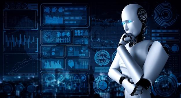 Robot umanoide di pensiero ai che analizza la schermata dell'ologramma che mostra i big data del concetto