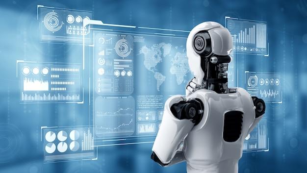 Pensando al robot umanoide ai che analizza lo schermo dell'ologramma che mostra i grandi dati del concetto