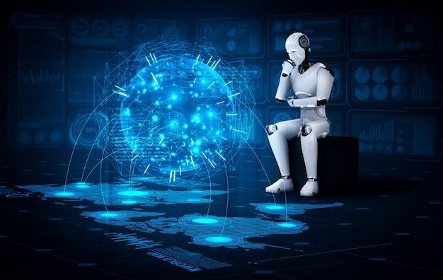 Pensare che il robot umanoide ai che analizza lo schermo dell'ologramma mostra il concetto di rete