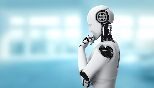 Robot umanoide di pensiero ai che analizza i dati delle informazioni nel concetto di intelligenza artificiale
