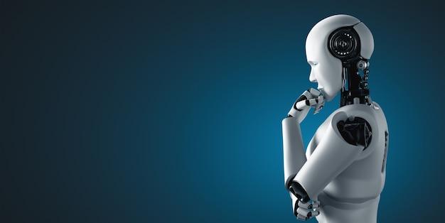 Robot umanoide con intelligenza artificiale che analizza i dati delle informazioni