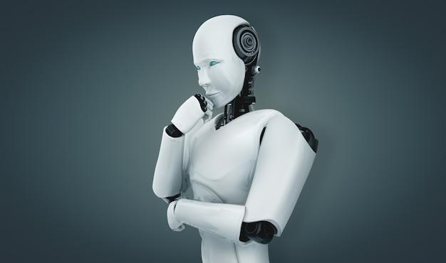 Robot umanoide pensante con intelligenza artificiale che analizza i dati delle informazioni