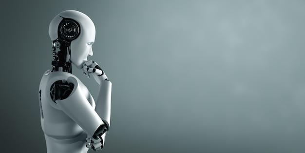 Robot umanoide di pensiero ai che analizza i dati delle informazioni