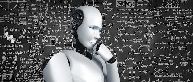 Robot umanoide di pensiero ai che analizza la schermata della formula matematica e della scienza