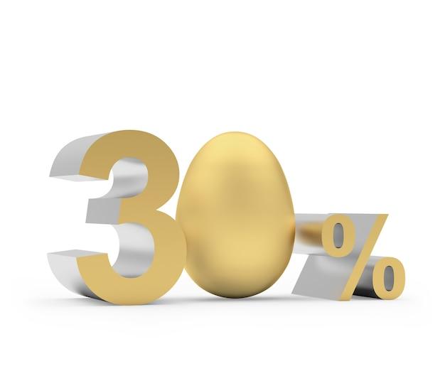 Trenta per cento con l'uovo di pasqua dorato