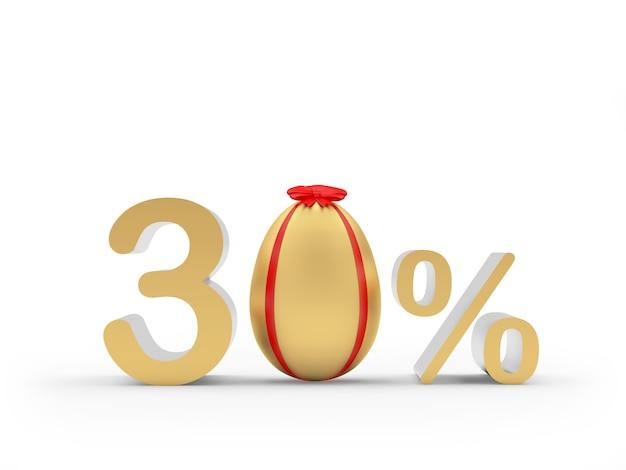 Trenta per cento con un uovo di pasqua d'oro