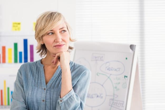 Donna di affari premurosa davanti ad una scheda bianca
